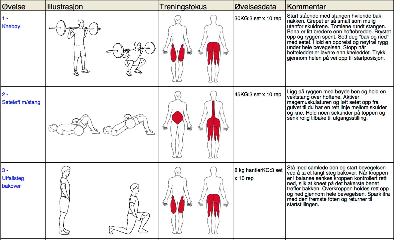 treningsprogram styrke bein